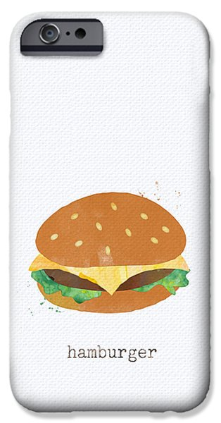 Diners iPhone Cases - Hamburger iPhone Case by Linda Woods