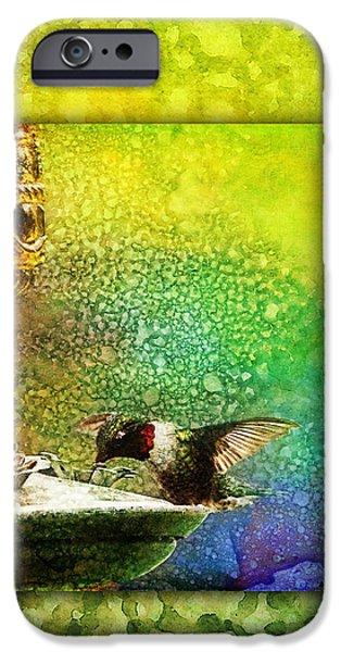 Ruby Garden Jewel iPhone Cases - Jewel Hummingbird iPhone Case by Christina VanGinkel