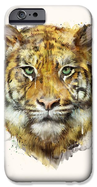 Fauna iPhone Cases - Tiger // Strength iPhone Case by Amy Hamilton