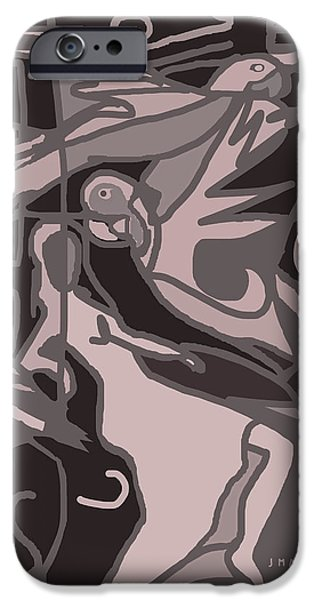 Interior Scene iPhone Cases - Woman and Parrot Birds iPhone Case by J Mae