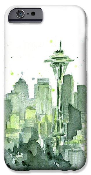 Seattle iPhone Cases - Seattle Watercolor iPhone Case by Olga Shvartsur