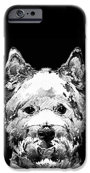 Doggie Art iPhone Cases - Black And White West Highland Terrier Dog Art Sharon Cummings iPhone Case by Sharon Cummings