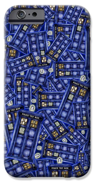 Recently Sold -  - Police iPhone Cases - Blue phone box Pattern iPhone Case by Lugu Poerawidjaja