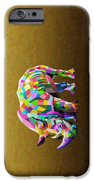 One Horned Rhino Paintings iPhone Cases - Wild Rainbow iPhone Case by Anthony Mwangi