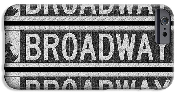 Drama iPhone Cases - Broadway Deco Swing street sign  iPhone Case by Cecely Bloom