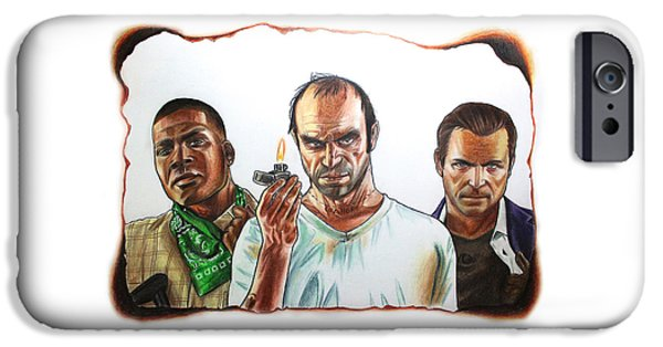 Weapon Pastels iPhone Cases - GTA 5 characters drawing iPhone Case by Nikolai Jonasson