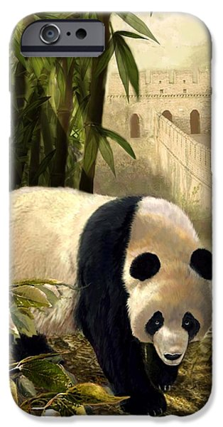 Ancient Paintings iPhone Cases - The panda bear and the Great Wall of China iPhone Case by Gina Femrite