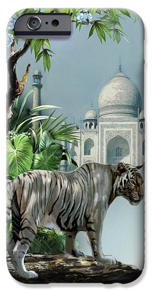 Best Sellers -  - The Tiger iPhone Cases - White Tiger and the Taj Mahal Image of Beauty iPhone Case by Gina Femrite