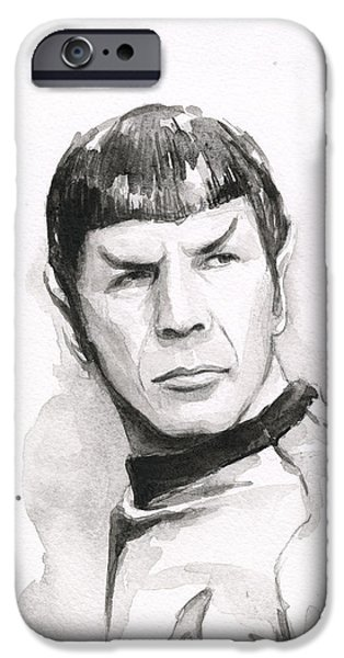 Science Fiction Paintings iPhone Cases - Spock Portrait iPhone Case by Olga Shvartsur