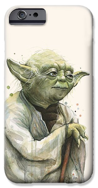 Science Fiction Mixed Media iPhone Cases - Yoda Portrait iPhone Case by Olga Shvartsur