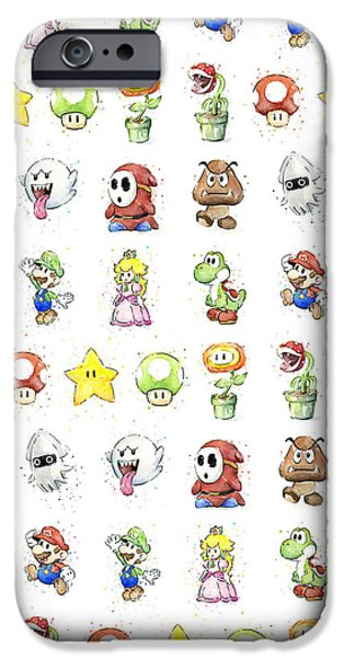 Fan Paintings iPhone Cases - Mario Characters in Watercolor iPhone Case by Olga Shvartsur