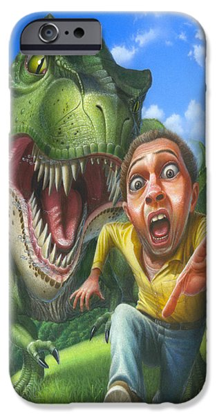 Best Sellers -  - Airbrush iPhone Cases - Tyrannosaurus Rex jurassic park dinosaur - T Rex - Paleoart- Fantasy - Extinct Predator iPhone Case by Walt Curlee