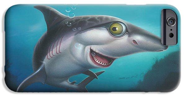 Shark Paintings iPhone Cases - friendly Shark Cartoony cartoon under sea ocean underwater scene art print blue grey  iPhone Case by Walt Curlee