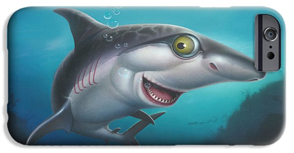 Airbrush iPhone Cases - friendly Shark Cartoony cartoon under sea ocean underwater scene art print blue grey  iPhone Case by Walt Curlee