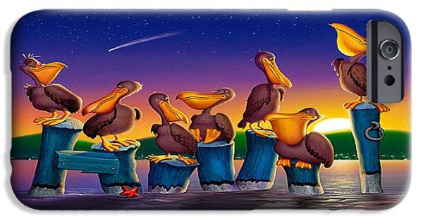 Cartoon Birds iPhone Cases - Pelican Sunset Whimsical Cartoon Tropical birds Seascape print blue orange purple yellow iPhone Case by Walt Curlee