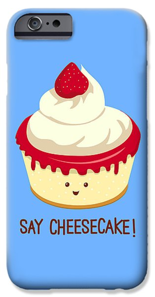 Snack Drawings iPhone Cases - Say CheeseCake iPhone Case by Ana Villanueva