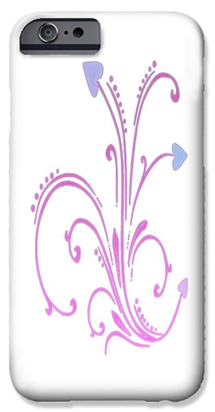 Gina Manley iPhone Cases - Blooming Pastel Hearts on a Vine iPhone Case by Gina Lee Manley
