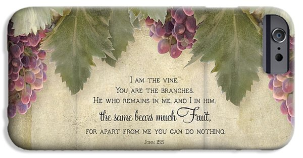 Grape Leaf iPhone Cases - Tuscan Vineyard - Rustic Wood Fence Scripture iPhone Case by Audrey Jeanne Roberts