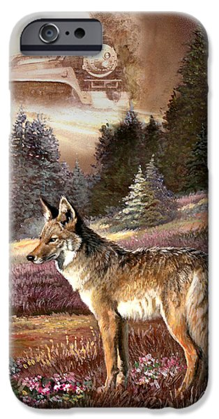 Fall Scenes Paintings iPhone Cases - Encounter with the iron hors  iPhone Case by Gina Femrite