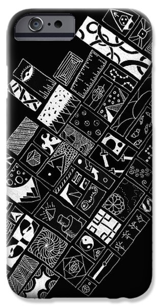 Abstract Shapes Drawings iPhone Cases - White on Black iPhone Case by Caffrey Fielding