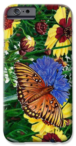 Garden Scene Paintings iPhone Cases - Butterfly Wildflowers garden oil painting Floral green blue orange-2 iPhone Case by Walt Curlee