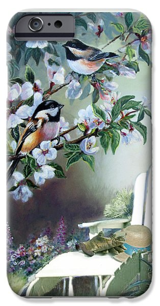 Chickadee iPhone Cases -  Chickadees in blossom tree iPhone Case by Gina Femrite