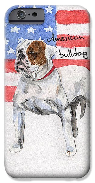 American Flag iPhone Cases - Watercolor postcard Dogs American Bulldog iPhone Case by Maryna Lievshyna