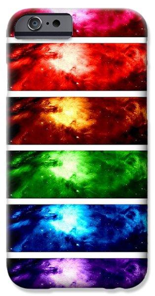 Constellations iPhone Cases - Rainbow Nebula iPhone Case by Johari Smith