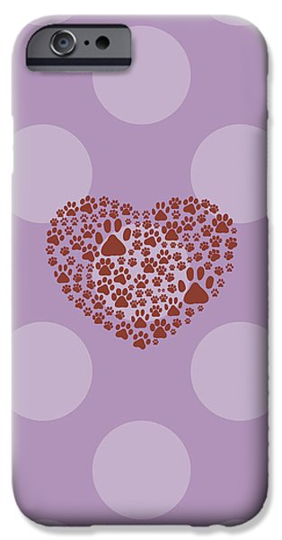 Puppy Digital iPhone Cases - Heart made of Dog Paws in Brown Color iPhone Case by Jelena Ciric
