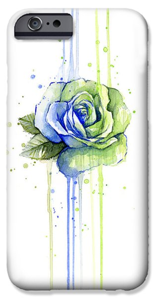Drip iPhone Cases - Seattle 12th Man Seahawks Watercolor Rose iPhone Case by Olga Shvartsur