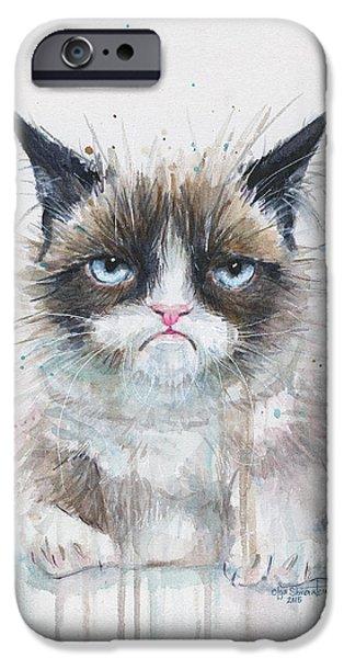 Cat Prints iPhone Cases - Grumpy Cat Watercolor Painting  iPhone Case by Olga Shvartsur