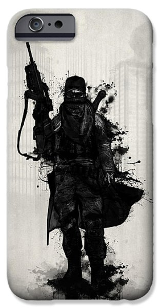 Soldiers Digital iPhone Cases - Post Apocalyptic Warrior iPhone Case by Nicklas Gustafsson