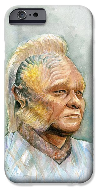 Science Fiction Mixed Media iPhone Cases - Neelix Star Trek Voyager Watercolor iPhone Case by Olga Shvartsur