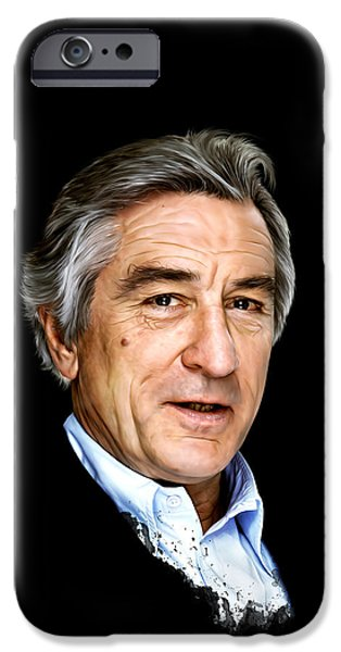 Robert De Niro Digital iPhone Cases - Robert De Niro iPhone Case by Mario Aguilar