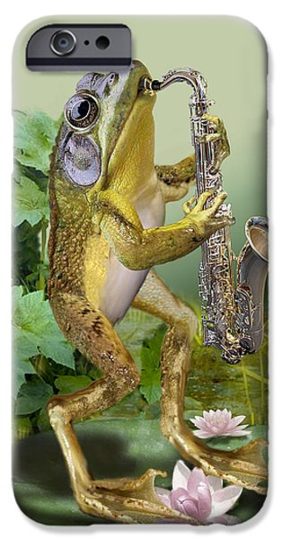 Nature Scene Paintings iPhone Cases - Humorous Frog Plying Saxophone iPhone Case by Gina Femrite