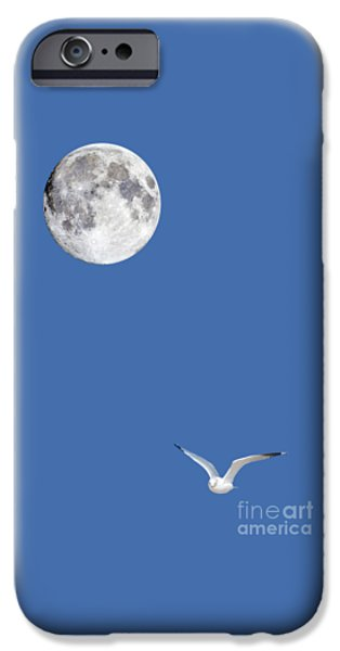 Sea Moon Full Moon Photographs iPhone Cases - Solitude iPhone Case by Michael Peychich