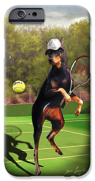Racquet iPhone Cases - funny pet scene tennis playing Doberman iPhone Case by Gina Femrite