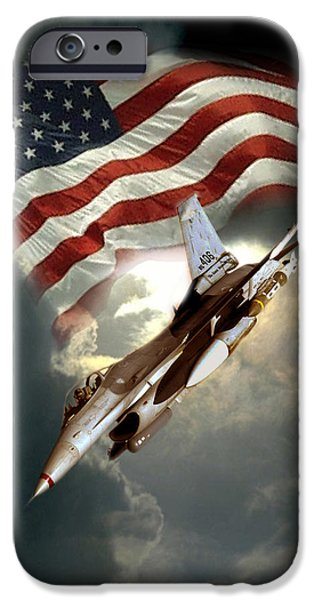 Flag Paintings iPhone Cases - American Feedom  iPhone Case by Gina Femrite