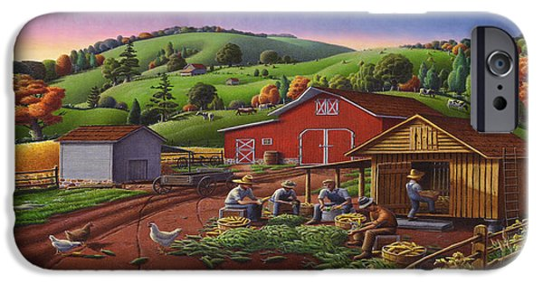 Nebraska iPhone Cases - Folk Art Americana - Farmers Shucking Harvesting Corn Farm Landscape - Autumn Rural Country Harvest  iPhone Case by Walt Curlee