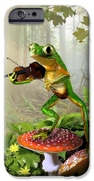 Amphibians Digital Art iPhone Cases - Humorous Tree Frog Playing a Fiddle iPhone Case by Gina Femrite