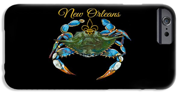 Seafood iPhone Cases - Louisiana Blue on Red iPhone Case by Dianne Parks