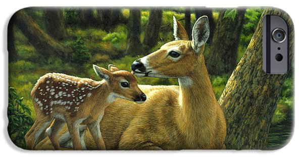 Baby Animal iPhone Cases - Whitetail Deer - First Spring iPhone Case by Crista Forest