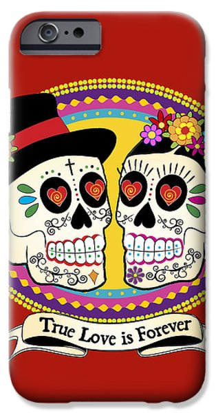 Love Drawings iPhone Cases - Los Novios Sugar Skulls iPhone Case by Tammy Wetzel
