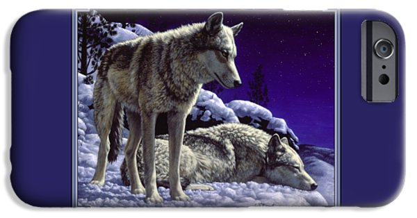 Dogs In Snow. Paintings iPhone Cases - Wolf Painting - Night Watch iPhone Case by Crista Forest