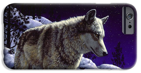 Snow Scene iPhone Cases - Wolf Painting - Night Watch iPhone Case by Crista Forest