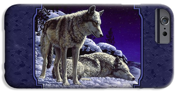 Dogs iPhone Cases - Wolf Painting - Night Watch iPhone Case by Crista Forest