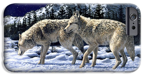 Dogs In Snow. Paintings iPhone Cases - Wolves - Unfamiliar Territory iPhone Case by Crista Forest