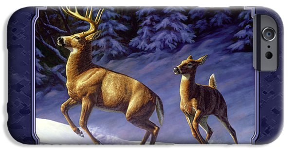 Wild Animals iPhone Cases - Whitetail Deer Painting - Startled iPhone Case by Crista Forest