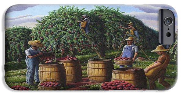 Apple Orchard iPhone Cases - Apple Harvest - Autumn Farmers Orchard Farm Landscape - Folk Art Americana iPhone Case by Walt Curlee