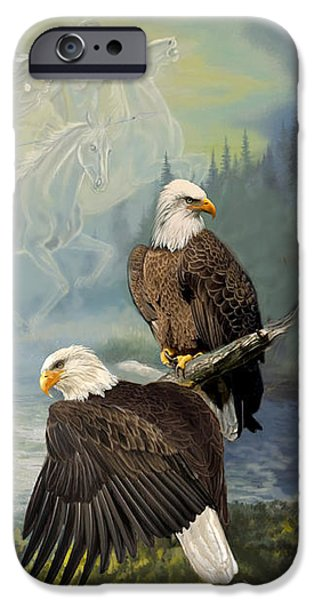 Culture Paintings iPhone Cases - Eagels and Native American  Spirit Riders iPhone Case by Gina Femrite